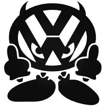 VW DEVIL Vinyl Car Sticker VW Van Camper Hippy Decal LARGE 200mm x 187mm